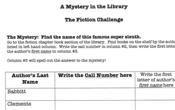 A Mystery in the Library: The Fiction Challenge