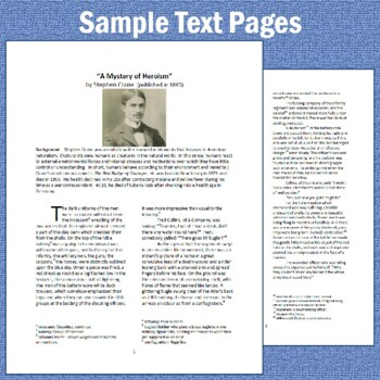 """""""A Mystery of Heroism"""" by Stephen Crane: Text, Reading Questions, & Key"""
