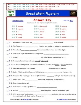 A NOVA - Great Math Mystery - Worksheet, Ans. Sheet, and Two Quizzes.
