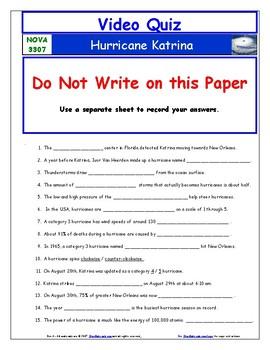 A NOVA -  Hurricane Katrina  - Worksheet, Ans. Sheet, and Two Quizzes.