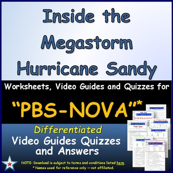 A NOVA -  Inside the Megastorm  - Worksheet, Ans. Sheet, and Two Quizzes.