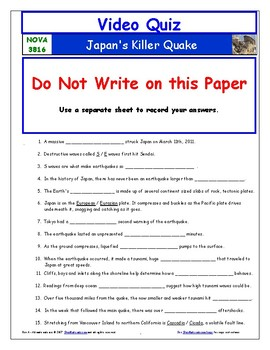 A NOVA - Japan's Killer Quake - Worksheet, Ans. Sheet, and Two Quizzes.