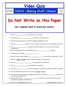 A NOVA - Making Stuff - All 4 Episodes Worksheet, Ans. Sheet, and Two Quizzes.