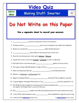 A NOVA - Making Stuff - Smarter - Worksheet, Ans. Sheet, and Two Quizzes.