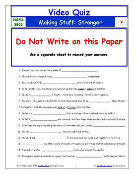 A NOVA - Making Stuff - Stronger - Worksheet, Ans. Sheet, and Two Quizzes.
