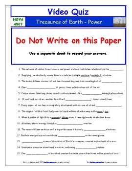 A NOVA - Treasures of Earth - Power - Worksheet, Ans. Sheet, and Two Quizzes.