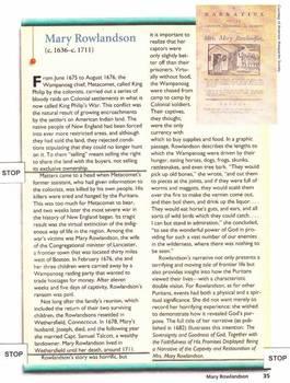 A Narrative of the Captivity of Mary Rowlandson - Unit Plans