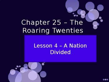 The Roaring Twenties - A Nation Divided PowerPoint