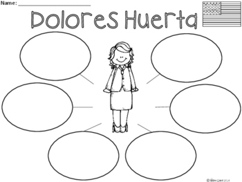 A+ National Hispanic Month: Dolores Huerta ... Three Graphic Organizers