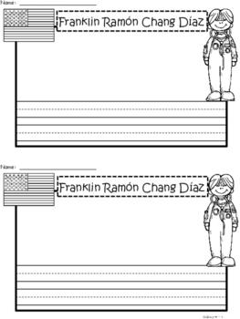 A+ National Hispanic Month:  Franklin Ramón Chang Díaz Writing Paper