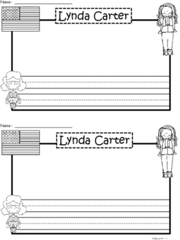 A+ National Hispanic Month:  Lynda Carter Writing Paper