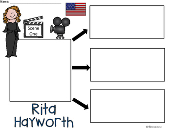 A+ National Hispanic Month: Rita Hayworth ...Three Graphic Organizers