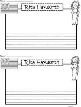 A+ National Hispanic Month:  Rita Hayworth Writing Paper