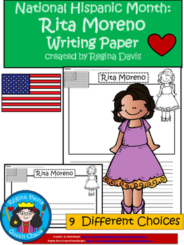 A+ National Hispanic Month:  Rita Moreno Writing Paper