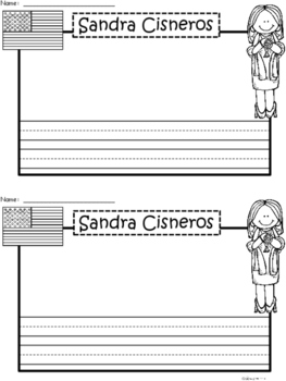 A+ National Hispanic Month: Sandra Cisneros Writing Paper