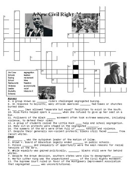 A New Civil Rights Movement Crossword Puzzle or Web Quest