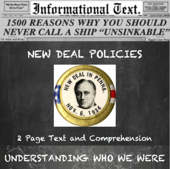 New Deal Policies During the Great Depression--Informational Text Worksheet