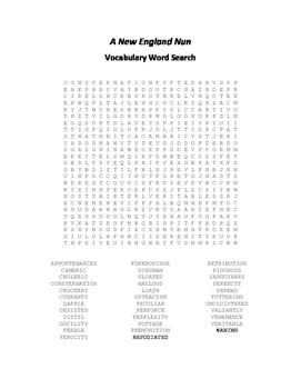 A New England Nun Vocabulary Word Search