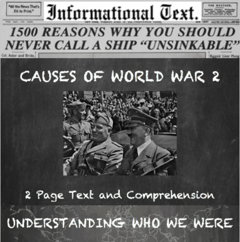A New Hope--Causes of WW2 (US Perspective) Informational Text Worksheet