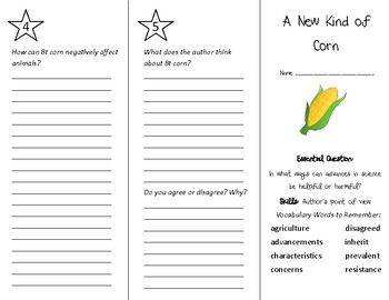 A New Kind of Corn Trifold - Wonders 4th Grade Unit 3 Week 5
