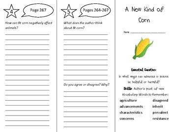 A New Kind of Corn Trifold - Wonders 4th Grade Unit 3 Week 5