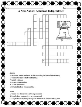 American Independence Crossword Puzzle