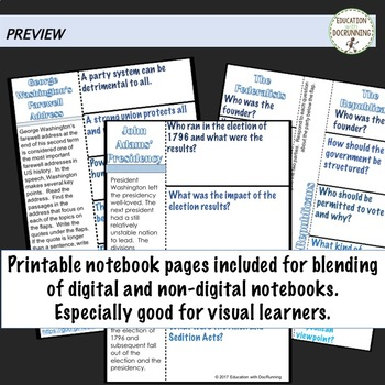 A New Nation Digital Interactive Notebook Graphic Organizers for Google Drive