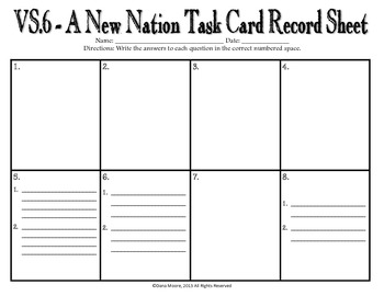 A New Nation SCOOT / Task Cards (VS.6)