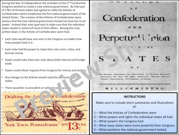 U.S. History - A New Nation - The Articles of Confederation