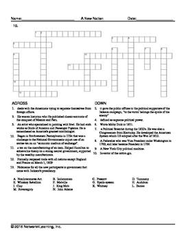 A New Nation US History Vocabulary Worksheet Collection