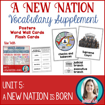 A New Nation Vocabulary Posters, Flash Cards, and Word Wall Cards
