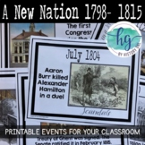A New Nation  from Washington to Madison Printable Timeline