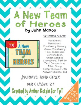 A New Team of Heroes Activities 3rd Grade Journeys Unit 6,