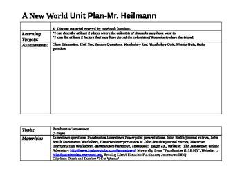 A New World Unit Plan