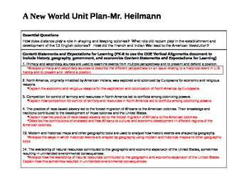 A New World Unit Plan