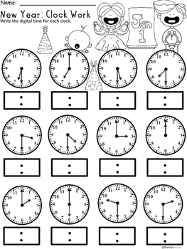 A+ New Year Analog Clock & Digital Clock Work (Hour and Half Hour)