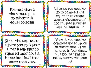A New Year Problem Solving Inquiry Activity with Order of Operations.