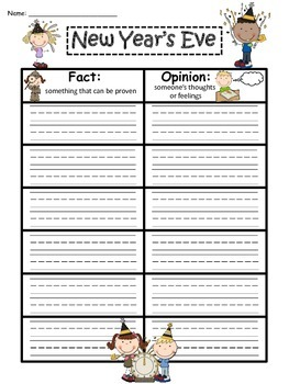 A+ New Year's Eve Fact And Opinion Chart...Graphic Organizer