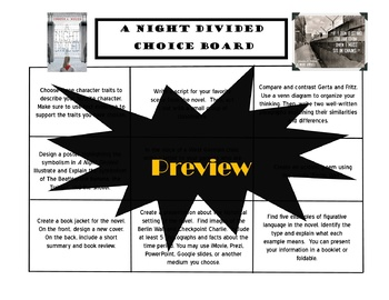 A Night Divided Choice Board Tic Tac Toe Novel Activities Menu Assessment