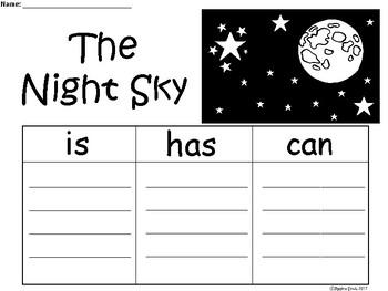A+ Night Sky ...Three Graphic Organizers