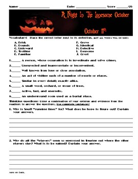 A Night in the Lonesome October by Roger Zelazny Chapter October 11 Assessment
