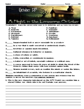 A Night in the Lonesome October by Roger Zelazny Chapter October 13 Assessment