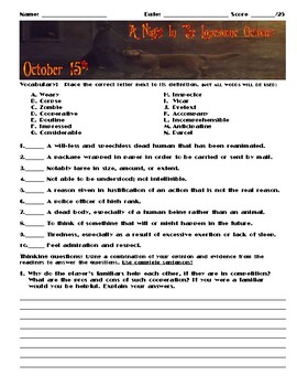 A Night in the Lonesome October by Roger Zelazny Chapter October 15 Assessment