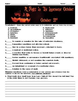 A Night in the Lonesome October by Roger Zelazny Chapter October 21 Assessment