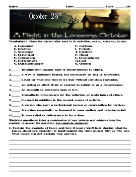 A Night in the Lonesome October by Roger Zelazny Chapter October 23 Assessment
