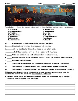 A Night in the Lonesome October by Roger Zelazny Chapter October 29 Assessment