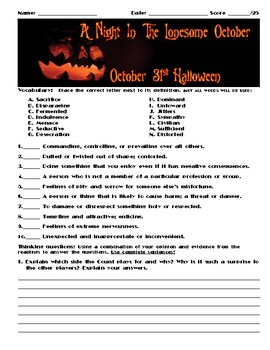 A Night in the Lonesome October by Roger Zelazny Chapter October 31 Assessment