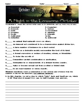 A Night in the Lonesome October by Roger Zelazny Chapter October 8 Assessment