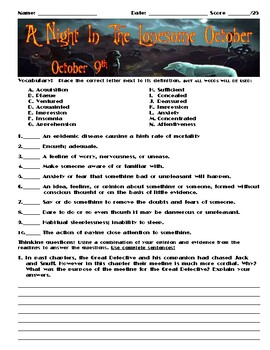 A Night in the Lonesome October by Roger Zelazny Chapter October 9 Assessment