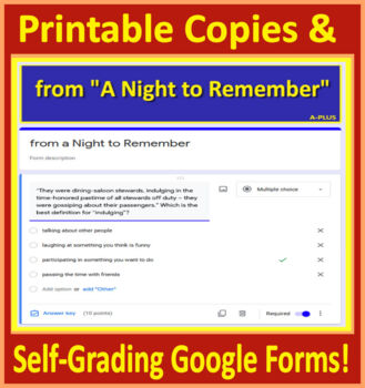 A Night to Remember Grade 6 HMH Collections 3 - Activities and Test